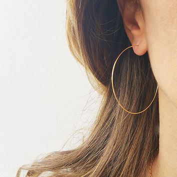 "Gold Hoops Earrings, Big Wire Earrings, 14K Gold Filled Hoops, Earrings For Women, 2"" Simple Hoop Earrings, Large Hoop Earrings, Thin Hoops"