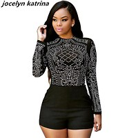 jocelyn katrina brand  long sleeve bodysuit women black sexy rompers women jumpsuit fashion shorts women jumpsuit