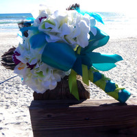 Peacock Feather Bouquet- Off White Hydrangeas and Lillies- Turquoise and Lime Green Wedding Bouquet