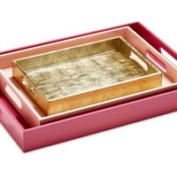 Asst. of 3 Metallic Trays, Rose/Gold, Decorative Trays