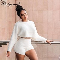 Colysmo Two Piece Set Tracksuit Women Knitted Long Sleeve Crop Tops And Shorts Suit Winter Sexy 2 Piece Set Women Clothes Outfit