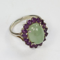 Green Aventurine Stone and Amethyst Ring Sterling Silver Size 7.25 Vintage