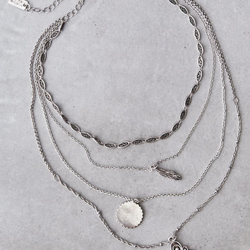 AEO Layered Silver Necklace, Silver