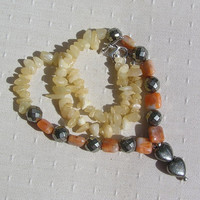 "Orange Calcite & Golden Pyrite Heart Gemstone Crystal Necklace ""Annabelle"""