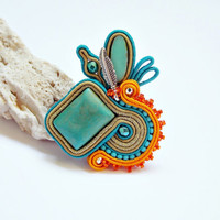 Soutache ring. Soutache handmade jewelry. Beadwork ring. Statement ring. Turqoise handmade ring. Unique gift for her.