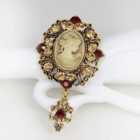 vintage cameo brooch pins brooches for women rhinestones broche flower brooch fashion jewelry = 1946083204