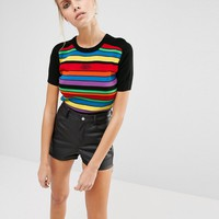 UNIF Rainbow Stripe Cropped Knit Top