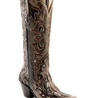 Corral Distressed Studded Overlay Cowgirl Boots - Snip Toe - Sheplers