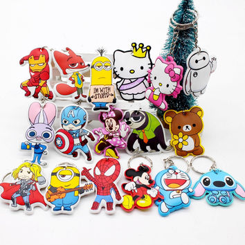 New cotton Anime Cute Minion cartoon Keychain iron Man mickey Cap Key chain Hello Kitty spider holder porte clef cat Ring cover