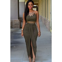 Explosive pleated suede two-piece sleeveless dress split hip dress Army green
