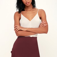 Mabel Burgundy Ruffled Mini Skirt