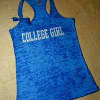 College Girl. Glitter Writing. Bow. Tank top. Racerback. Size S-2XL. Burnout. Black. Exercise. Soft. Women. Workout. Fitness.