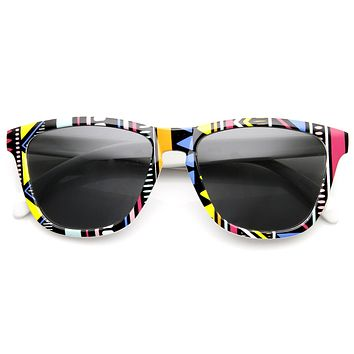 Indie Retro Native Geometric Print Keyhole Horned Rim Sunglasses 9377
