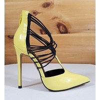 "Alba Jamie Yellow Strappy Elastic Pointy Toe High Heel Pumps Shoes 4.5"" Heels"