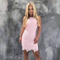 Carpe Diem Crochet Dress in Light Pink