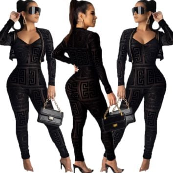 Fashion Women Strap Jumpsuit Coat Two-Piece