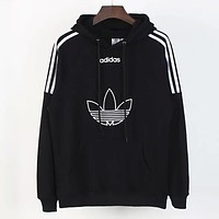Adidas New fashion letter leaf print couple hooded long sleeve sweater top Black