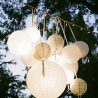 12 Paper Lanterns White - Wedding, Party, Nursery  Decor
