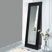 """67"""" Leaning Floor Full Length Mirror with Wooden Framework, Brown By The Urban Port"""