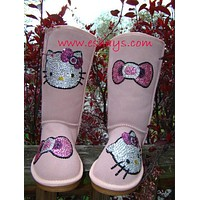 Bling Rhinestone PINK Kitty Winter Snow Boots Mid Length