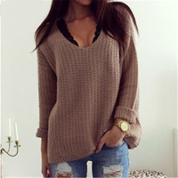 2016 Sexy Women Sweaters Autumn Solid Hollow Out V Neck Loose Long-Sleeved Pullover Sweater Outerwear Women Clothing J4170