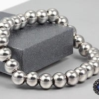 Limited Edition High Polish Silver Stainless Steel Beads Bracelet