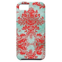 GC Vintage Turquoise Red Damask Case Mate Iphone 5 Cases from Zazzle.com