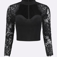Sexy Lace Patchwork Bodycon Long Sleeve Women Crop Tops