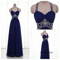 Gorgeous Blue Prom Dress/ Crystal Prom Dresses/ Halter Prom Dress Gown/ Blue Evening Dress/ Formal Evening Gown