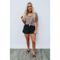 Travel Time Top: Dark Taupe