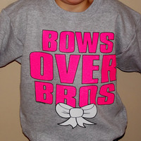 Girls Bows Over Bros Sweatshirt. Girl Power Youth Sweatshirt. Customize To Size And Color. Also Available In Adult Sizes.