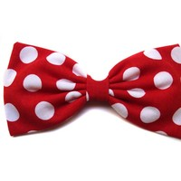 """Large Red Polka Dot """"Minnie Mouse Inspired"""" Hair Bow- Rockabilly, Pin Up, Retro (Alligator Clip)"""