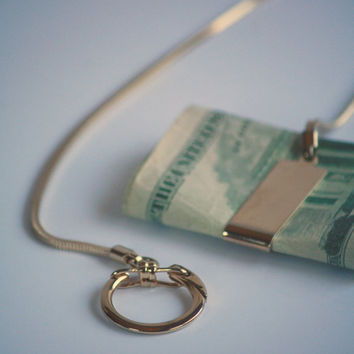 Money Clip on a Chain With Clasp - Gift for Men - Vintage - Free Shipping