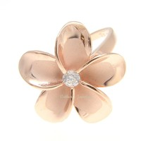 PINK ROSE GOLD STERLING SILVER 925 HAWAIIAN PLUMERIA FLOWER RING 21MM CZ