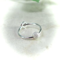 Cartilage Earring Silver with Silver Fleck Bead Single