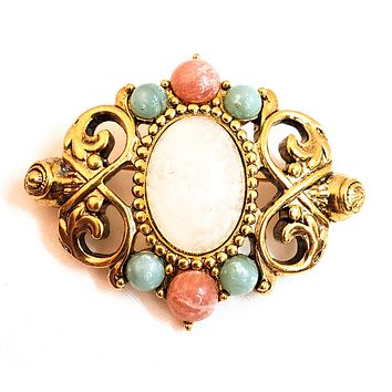 Vintage Princess pink and blue Art Glass gold toned brooch pin