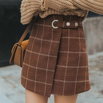 Wrap Front Plaid Skirt