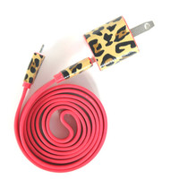 Classic Cheetah on Red - 3ft iPhone charger