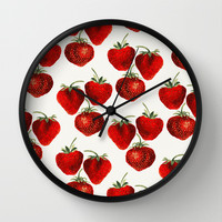 Strawberries Pattern Wall Clock by Heart of Hearts Designs