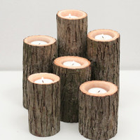 Tree Branch Candle Holders I- Rustic Wood Candle Holders, Tree Slice, Woodland Candle Holders