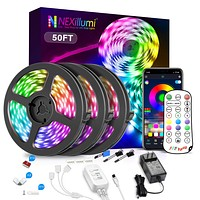 Nexillumi 50ft LED Strip Lights with IR Remote Ultra-Long LED Lights for Bedroom, Dorm, Room Decor App Control Music Sync LED Lights with Connectors (50Ft APP+ Remote+ Mic Control+ 3-Button Switch) 50Ft APP+ Remote+ Mic Control