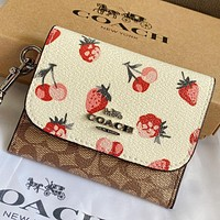COACH New fashion strawberry pattern print leather wallet purse handbag