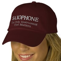 Embroidered Saxophone Hat With Slogan Embroidered Baseball Cap from Zazzle.com