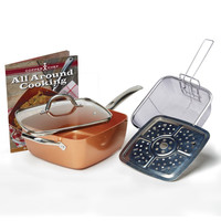 As Seen On TV Copper Chef Pan NonStick Oil Free Dishwasher And Oven Safe Deep Pan w Lid