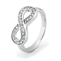 925 Sterling Silver Cubic Zirconia Infinity Symbol Ring, Size 7