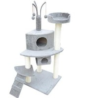 "PawHut 47"" Cat Tree with Tunnel - Grey"