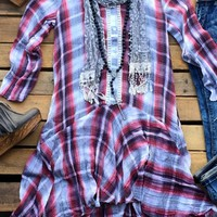 Our My Strongest Weakness Tunic Dress - Red is so perfect for fall! It's a long sleeve tunic dress with plaid print. Buttons down the front with a slight v-neck. Also has lace detail and has side pockets.