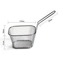 New Kitchen Cooking Tools Mini Stainless Steel French Fries Net Fry Fryer Basket Small square shape kitchen supply