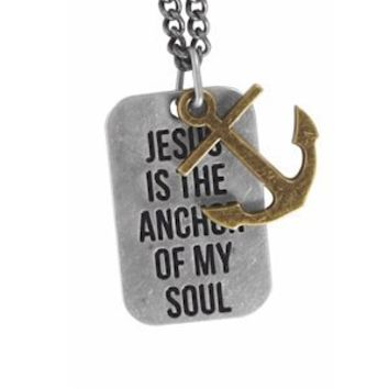Jesus is the Anchor of My Soul Gold/Silver Tone Metal Mens Christian Necklace