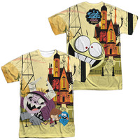 FOSTERS/FUNNY FRIENDS (FRONT/BACK PRINT)-S/S ADULT POLY CREW-WHITE